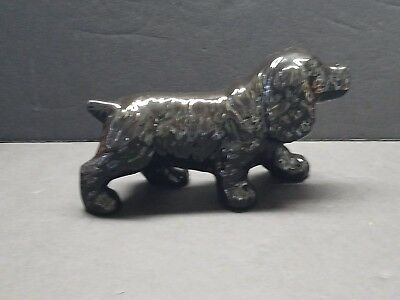 VINTAGE 1950's SOLID BLACK CERAMIC POINTING, HUNTING DO - SPANIEL? SETTER?