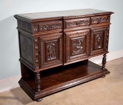 *Antique French Breton (Brittany) Sideboard/Server in with Marble Top