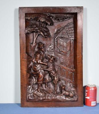 *Antique French Solid Walnut Deeply Carved Wood Panel with a Man, Sheep and Dog