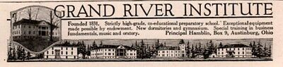 1919 Ad  Grand River Institute Prep School Austinburg Ohio