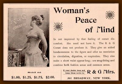 1896 Ad R & G Mfrs Corset Photo Woman