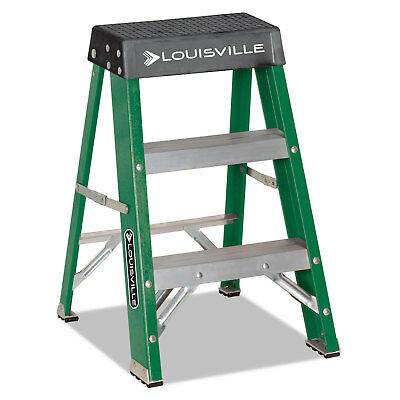 Louisville #624 Folding Fiberglass Locking 2-Step Stool 17-inch wide x 22 Spread