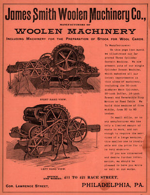 1900 lg AD JAMES SMITH WOOLEN MACHINERY CO BREAST MACHINE FABRIC MILL
