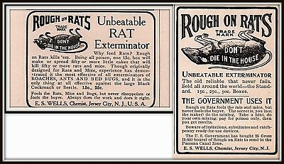 Ad Lot Of 2 1905 - 1909 D Ads Rough On Rats Killer Poison Exterminator Wells