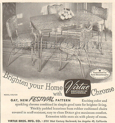 VTG 1950's Virtue Brothers Chrome DINETTE SET Table Chairs Furniture Retro Ad