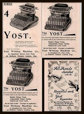 Ad Lot Of 4 1894 - 96 Ab  Ads  Yost Typewriter Number 4