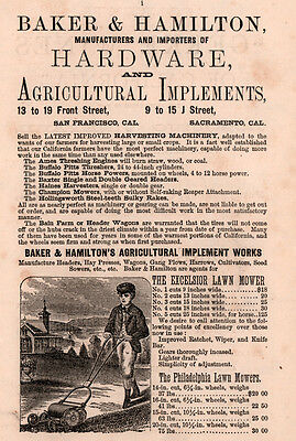 1875 Ad Baker Hamilton Hardware Agricultural Implements Lawn Mower