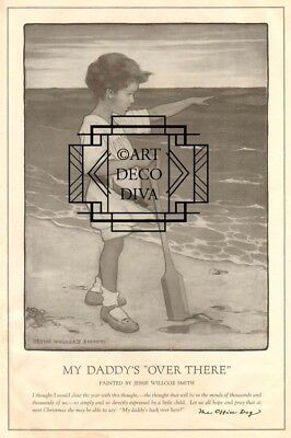 Antique Jessie Wilcox Smith DADDY Over There WII Beach Child MILITARY US Army PG