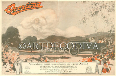Antique 1917 Willys Overland Automobile CLOUD Pareidolia Shape Woman Poster Ad