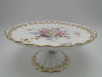 Crown Staffordshire England's Bouquet 8 1/2in Compote plate on stand hand paint