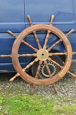 Large Antique / Vintage Ships Wheel - Solid Wood  and brass 10 spoke  5ft wide