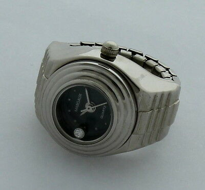 Silver Finger Ring Watch round bluish Black -New #BL