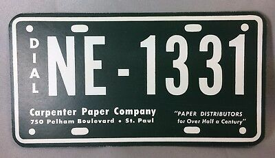 Carpenter Paper Co St Paul LICENSE PLATE Advertising Ink BLOTTER Vintage Originl