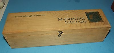 "Maddalena Vineyard Wood Wine Bottle Box about 14""x4"" with Hinged Lid California"