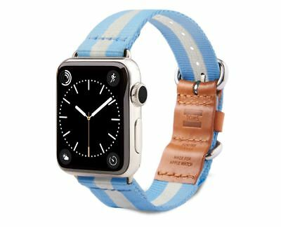 TOMS Apple Watch Band Strap Blue & White Stripe Woven 38mm.***New***