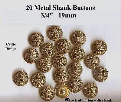 """20 Celtic Metal Buttons 3/4"""" Antique Gold Brass Shank 19mm- Costumes Theater"""