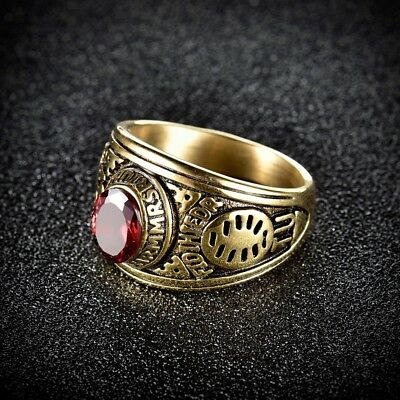 Mens Red Ruby Gemstone Gold Stainless Steel Vintage Celtic Wedding Rings Band