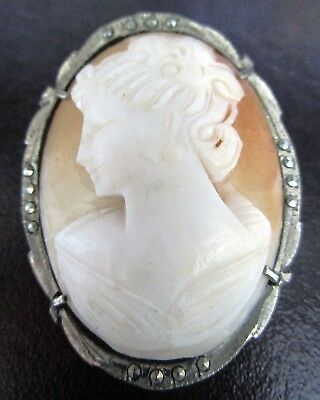 Beautiful Genuine Shell Cameo 800 Silver Vintage Pin/Pendant
