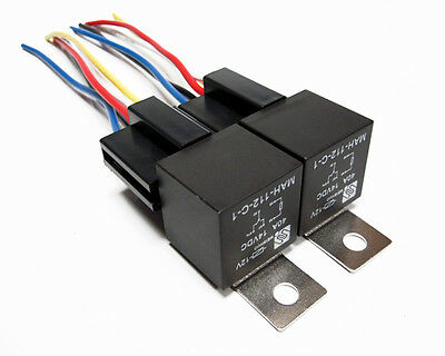 2 Pair 12 Volt Premium Spdt Relays & Sockets Car Alarm 40 Amp 40A 12V Automotive