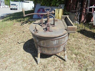 Antique wood & metal hand operated washing machine