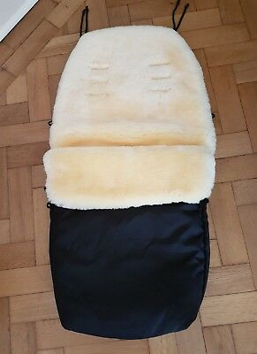 John Lewis Black Sheepskin Footmuff Supersoft Rrp £130 Universal New
