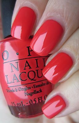 OPI ~RED LIGHTS Ahead ..Where?~ Hot Coral Red Creme Nail Polish ...