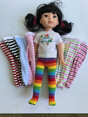"""Striped Tights for 14"""" Wellie Wishers Doll: choice of 8!"""