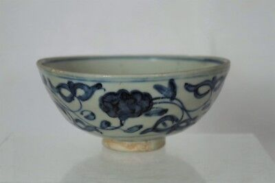 Beautiful Antique Chinese Ming Dynasty or Earlier Handpainted Blue/White Bowl