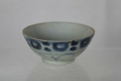 Antique Chinese Ming Dynasty Handpainted Blue and White Tea Bowl