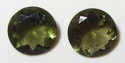3.75ct Pair Faceted TOP QUALITY Natural Czechoslovakia Moldavite Round Cuts 9mm