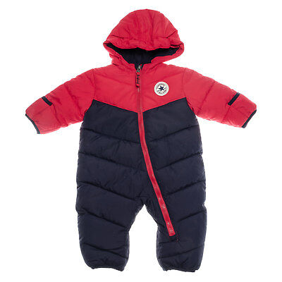 Baby Boys Converse Snowsuit In Navy Red- Lined Hood- Zip Fastening- Cuffs Fold