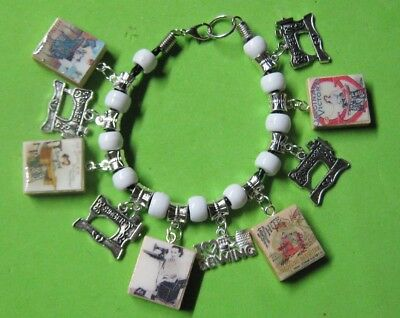 """"""" Vintage Sewing Machines"""" Charm Bracelet - Antique Silver  Tone- Hand Made"""