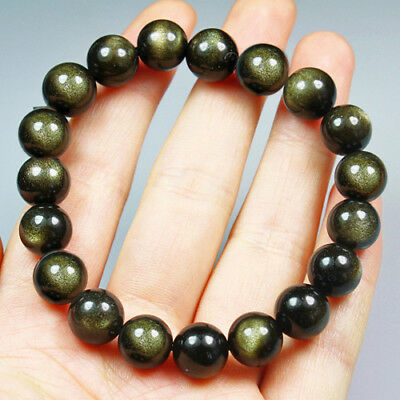 106.5CT 100% Natural Mexican Golden Obsidian Round Beads Bracelet Chain BGO249