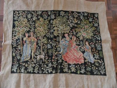 Antique Vintage 3/4 Completed French Medieval Scene Tapestry Needlework