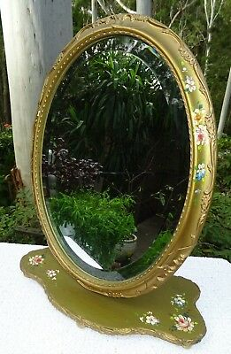 Antique c1894 Victorian Edwardian English Barbola Cheval Dressing Table Mirror