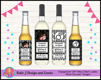 ** Personalised ENGAGEMENT PARTY GIFT WINE Beer BOTTLE LABELS Present Gifts **