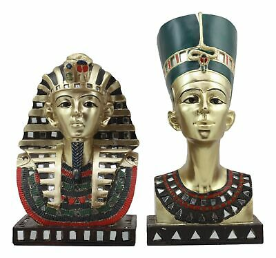 Golden Mask Of Egyptian Pharaoh King Tut And Queen Nefertiti Statue Set Of 2