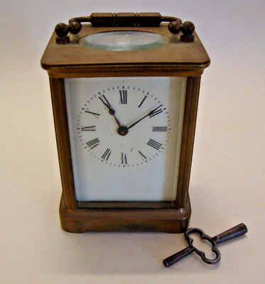 Early 20th century brass cased carriage clock with key