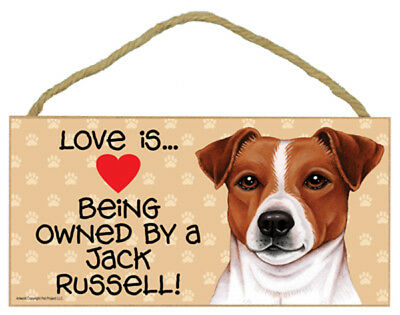 Love is Being Owned By a Jack Russell Dog 5 x 10 Wood SIGN Plaque USA Made