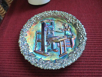 Fenton Carnival Glass Plate 1971 The Printer 2nd in Series American Craftsman