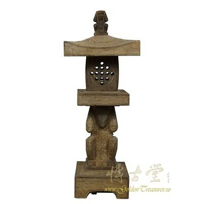 Chinese Antique Carved Natual Stone Garden Lantern 28X26
