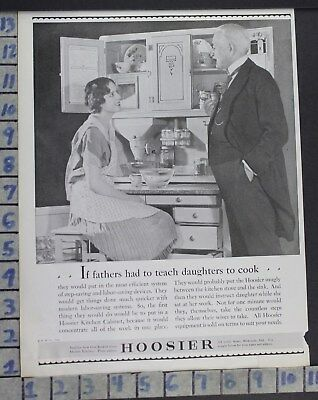 1928 Hoosier Cabinet Kitchen House Father Daughter Home Decor Art Ad  Cg19