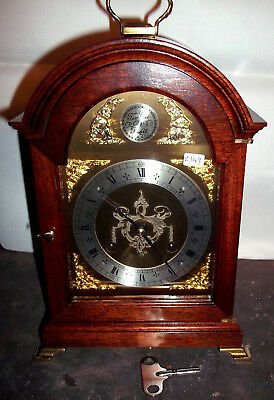 Attractive Mahogany Comitti Bell Striking Bracket Clock In Very Good Condition