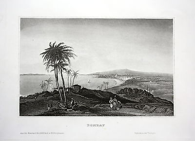 ca. 1850 Bombay Mumbai Indien India view Ansicht Stahlstich antique print