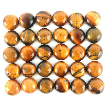 116 Cts/30 Pcs ~ 10mm Round Cabochon Untreated Natural Tiger Eye Wholesale Gems