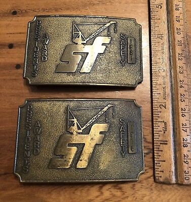 Lot of 2 VINTAGE 1976 1981 SF CRANE PRESIDENT'S SAFETY AWARD BRASS BELT BUCKLES