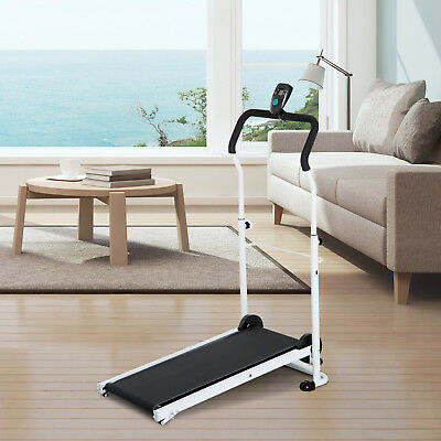 Walking Treadmill Manual Foldable LCD Incline Gym Workout Fitness Black