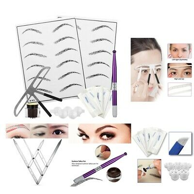 Eyebrow Microblading Set Permanent Needles Rulers Ring Cup Skin Pratice Pen