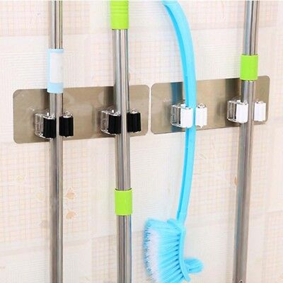 Wall Mounted Mop and Broom Holder Bathroom Shelves Storage Hooks Garden Tool