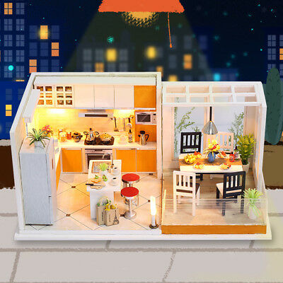 Mini DIY Musical Dollhouse Miniature Doll House Furniture Kit w/ LED Light B